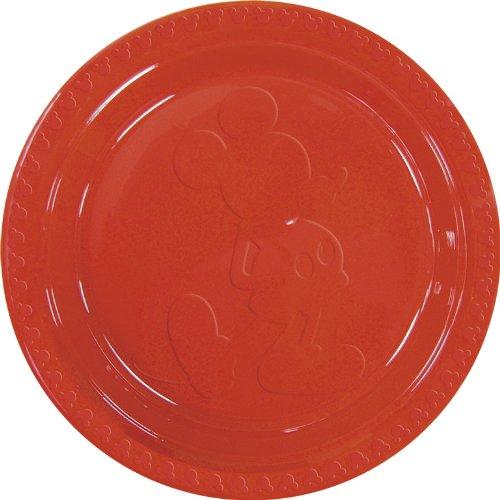 Disney Mickey Plastic Plates Embossed Large, Red