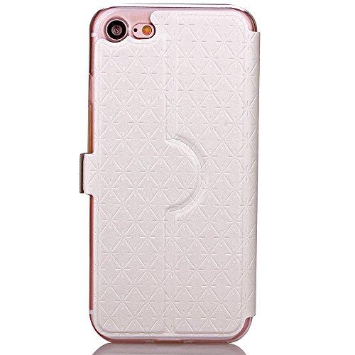 iPhone Case Cover PU Leather Window Case Grille Lattice motif Flip Stand Case couverture avec slot pour carte pour iPhone7 ( Color : Black , Size : Iphone 7 ) White
