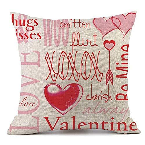 Valentines Kissenbezug 18 x 18 für Couch Liebe rote Rose Sweet Heart Valentinstag Dekorationen Dekokissen Home Decor Kissenbezug Faux Leinen Kissen Fall Sofa (Queen Hearts Strümpfe Of)