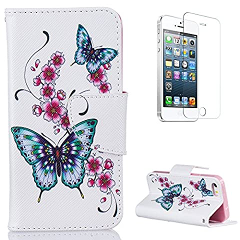 iPhone SE/iPhone 5/5S Case with [Free Screen Protector],CaseHome Book Style Folio Magnetic Closure Stand Feature with Credit Card Slot Built-in Soft Rubber Pink Bumper Full Body Protective Folding PU Leather Flip Wallet Case Cover Skin Shell for Apple iPhone SE/iPhone 5/5S with Unique Colourful Pattern Design-Butterfly and