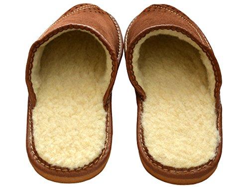 Herren Leder Hausschuhe Warme Pantoffeln Schafwolle Futter XH07 Braun