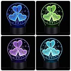 Idea Regalo - ledmomo 3d cuore forme luci notturne 7colori cambia LED lampada Touch USB telecomando lampada da tavolo per Coppie notte romantica San Valentino Amante Camera da letto regalo (tre a forma di cuore)