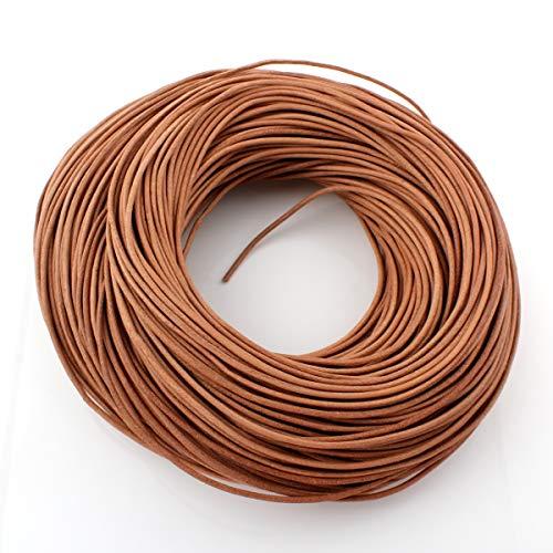 Perlin 10 Meter Lederband 1/2/2,5 mm Braun Sand Lederschnur Rindsleder Leder Schmuckband Bastelband Bastelschnur Schmuckschnur (2mm 10 Meter)