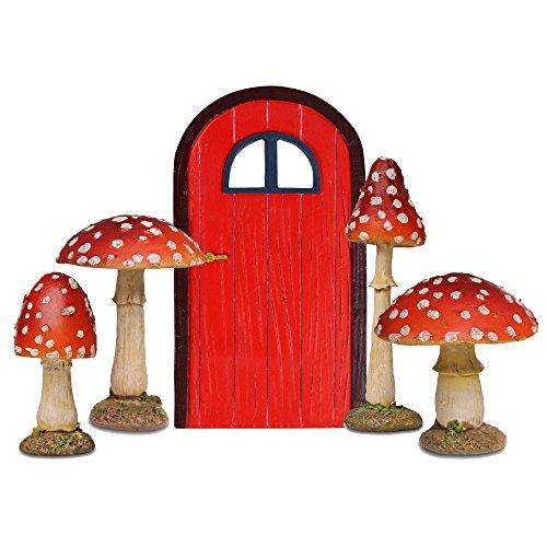 Garten Deko Figuren Set Rote Feen Türe & 4 Fliegenpilze aus Polyresin