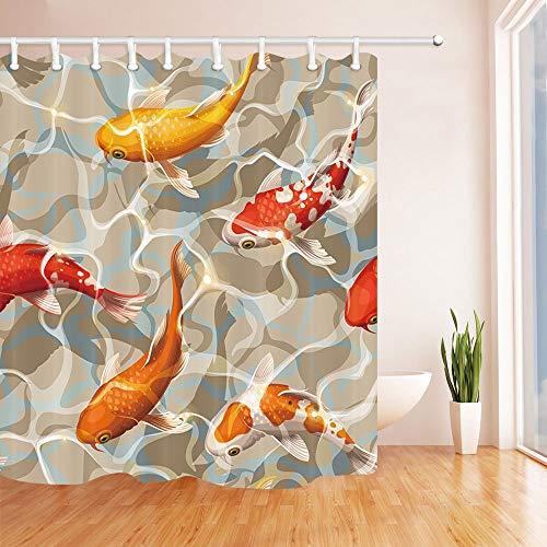 Tende per acquario con pesci koi varicolored per bagno oceano pesce tropicale nuoto in acqua tessuto impermeabile in poliestere tessuto 180x180cm