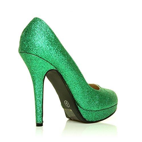 Shu Wish UK - Eve Damen Glitter Stiletto Hohe Absätze Plattform Pumps Schuhe Grüner Glitter