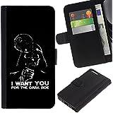 KLONGSHOP / Tirón de la caja Cartera de cuero con ranuras para tarjetas - I Want You Dark Side Vader - Apple iPhone 6 PLUS 5.5