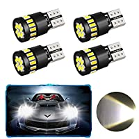 4 Pack T10 W5W 21 x 4014 Car LED Bulbs, Oladwolf Car Led Interior Lights With Canbus Parking Light Reserve Light Side Light Replacement Bulbs Interior Lamps(White) (T10)