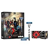 Gillette Mach3 Turbo Razor Gift Set Justice League Limited Edition + 2 Blade Refills + Exclusive Virtual Reality Headset
