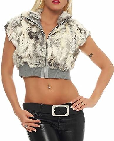 malito la vraie fourrure Boléro Gilet Veste Enrouler Cardigan Capot Casual Basic WS12-1208 Femme Taille Unique (gris clair)