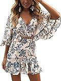 ECOWISH Damen Kleider V-Ausschnitt Sommerkleid Blumen Mini Strandkleid Boho Rüschen Fledermausärmel Freizeitkleider Blau S