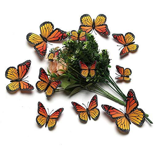 3D Stereo-Simulation Monarch Schmetterling Wohnzimmer Verschönerung kann kreative dekorative Wandaufkleber 1 Sets von 60 entfernen gelb (Monarch-schmetterlings-flügel Für Kinder)