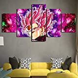 5 Panels Wandkunst Dragon Ball Goku Vegeta Leinwanddrucke Bild auf Leinwand für Zuhause Wand Dekoration Kunstwerk Schlafzimmer Büro,A,40x60x2+40x80x2+40x100cmx1