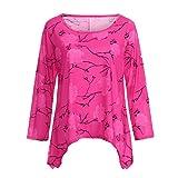 IMJONO Damen Lose Asymmetrisch Sweatshirt Pullover Bluse Oberteile Oversized Tops T-Shirt(EU-46/CN-4XL,Rot)
