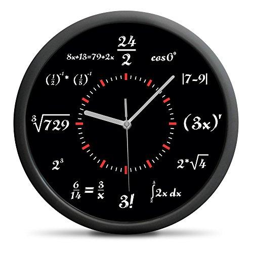 anduhr Mathematik in Schwarz-Weiß - Einzigartiges Zifferblatt - Zeigt die Uhrzeit in einer mathematischen Formel Sweep-Mechanismus (kein nerviges Ticken) ()