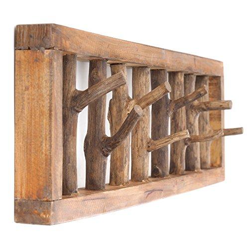 DESIGN DELIGHTS WANDGARDEROBE TREIBHOLZ UNIKAT | 82x22x12 cm, Recyclingholz, Shabby Chic | Kleiderhaken -