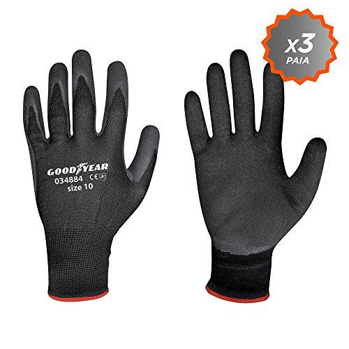 guanti da lavoro goodyear Confezione da 3 guanti Goodyear in lattice con supporto in poliestere e dorso ricoperto taglia 9