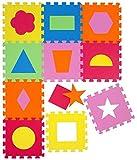 LittleTom Puzzlematte Geometrische Figuren Spielmatte Spielteppich Schaumstoff Puzzle Kinderteppich