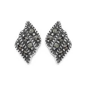 Black Marcasite Tiny Flame in Sterling Silver Stud Earrings
