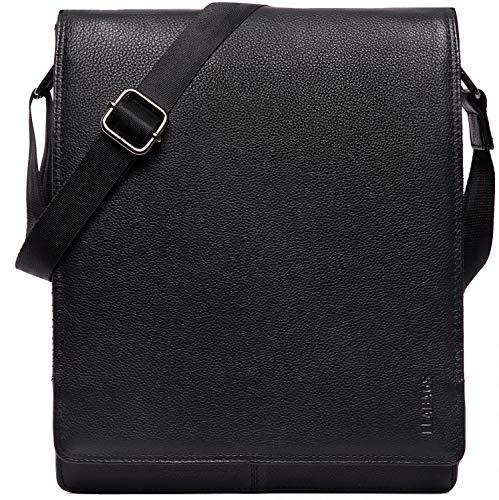 LEABAGS London Umhängetasche Schultertasche für 13 Zoll Tablets aus echtem Leder im Vintage Look - OnyxBlack