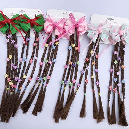 Prinzessin Haarteil geflochtene Perücken 1 Paar Kinderperücke Haarnadel Kinder Mädchen Kleinkind Schleife Haar Clip Haar Zopf Frisur Werkzeug für Mädchen liebenswert ()