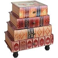 ts-ideen estantería cómoda librero estilo de vintage antiguo libros rustico con 4 cajones, color rojo - Muebles de Dormitorio precios