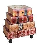 ts-ideen GmbH Mobiletto in stile Vintage Epoca con sagoma a libri impilati.