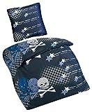 Aminata Kids - Kinder-Bettwäsche-Set 135-x-200 cm Pirat-en-Motiv Piraten-Schiff Schatz Toten-Kopf-Flagge 100-% Baumwolle schwarz-e blau-e