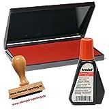 Trodat Stempelkissen 16 x 9 cm für den klassischen Holzstempel, rot & passende Stempelfarbe 28 ml zum nachfüllen