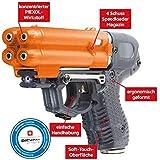 PIEXON Pfefferspraypistole JPX6 mit 4 Schuss Speedloader Tierabwehrgerät