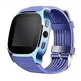 T8 Smartwatch Bluetooth Smart Uhr Mit Kamera Unterstützung LBS Positionierung Schrittzähler Musik Player Facebook WhatsApp Sync SMS Unterstützung SIM TF Karte für Android IOS Samsung Iphone (Blau)