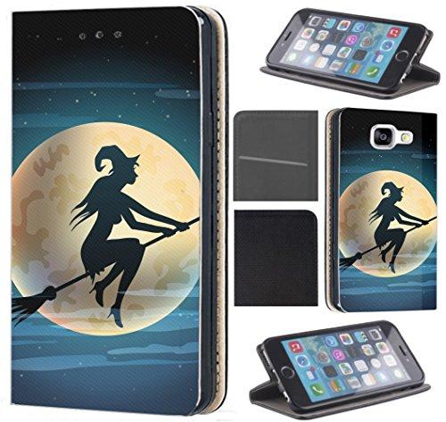 CoverFix Premium Hülle für Samsung Galaxy A5 (Modell 2017) A520 Flip Cover Schutzhülle Kunstleder Flip Case Motiv (1508 Hexe Besen Halloween Mond)