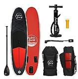 FabricBoard 10 Pulgadas, Tablas de Paddle Surf Hinchables, Accesorios Incluidos (Black & Red)