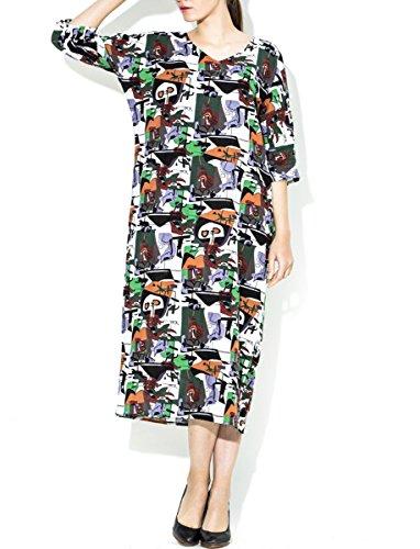 ELLAZHU Femme Spring Imprimé Manche Recadrée Maxi Chemise Robe SZ377 A SZ393