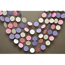 Decoración de Pascua, color rosa y blanco guirnalda de color lila decoración de Pascua Anuncio, guirnalda de papel, k-c-0001, Baby Shower, para Primer Cumpleaños de Decor