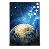 BANJADO Design Magnettafel Edelstahl | Schreibtafel magnetisch 35cm x 50cm | Memoboard mit 6 Magneten | Magnetwand mit Motiv Erdkugel