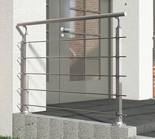 Geländer-Set aus Aluminium, matt. 1500 mm (kürz- und verlängerbar). Bodenmontage. Als Treppengeländer, Brüstungsgeländer, Balkongeländer, Terrassengeländer. Für Innen & Außen
