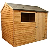 WALTONS EST. 1878 6x8 Wooden Garden Storage Shed, Overlap Construction Dip Treated with 10 Year Guarantee, With Windows, Single Door, Reverse Apex Roof, Roof Felt & Floor Included, (6 x 8 / 6Ft x 8Ft) 3-5 Day Delivery