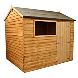 WALTONS EST. 1878 Wooden Garden Storage Shed 6x8 Overlap Dip Treated With Windows, Single Door, Reverse Apex Roof (6 x 8 / 6Ft x 8Ft)