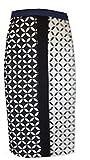 Bleistiftrock mit raffiniertem schwarz-weißen graphischem Muster-40
