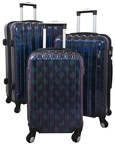 36879 Polycarbonat Hartschalen Koffer Trolley Reisekoffer Reisetrolley Handgepäck Boardcase 3tlg. - Retro Welle Lila