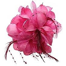 SODIAL(R) Pin Broche Pluma Tela Forma de Flores Fucsia para Mujer Chica Regalo
