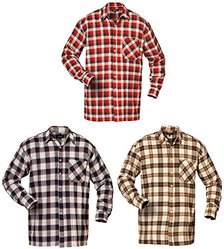 flanellhemd arbeitshemd Flanell-Hemd DELAWARE / VIRGINIA / NEVADA im 3er-Set 100% Baumwolle (XXXXL (49/50))
