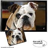 Set: 1 Fußmatte Türmatte (60x40 cm) + 1 Mauspad (23x19 cm) - Hunde, Junge Englische Bulldogge