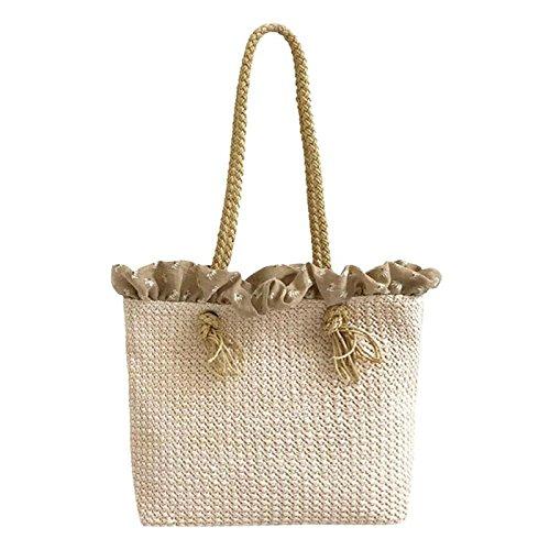 onemoret rund weiblich Rattan Stroh Handtasche Langlebig Weave Big Beach Bag Schulter Taschen Casual Bohemia Stil Kreis Travel Tote in in beliebtes beige -