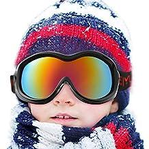 WADEO Gafas de esquí para niños Anti-Niebla a Prueba de Viento 452fe018138