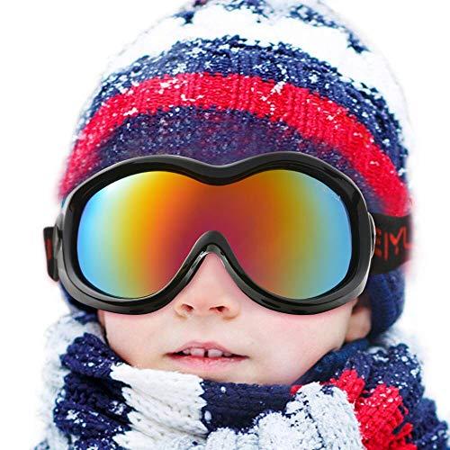 WADEO Skibrille Kinder brillenträger Ski Snowboard Schnee Brille Goggles für Herren Damen Jugend Anti-Nebel UV-Schutz geeignet für Junior Schwarz