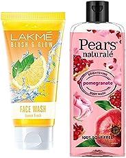 Lakmé Blush and Glow Lemon Fresh Facewash, 100g & Pears Naturale Brightening Pomegranate Bodywash, 250 ml