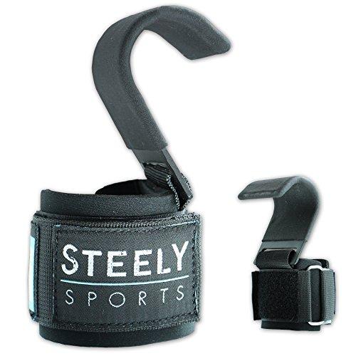Steely-Sports Zughilfen – Power Lifting Hooks V2 / Klimmzughaken – Farbe: schwarz // Bodybuilding, Krafttraining, Fitness & Gewichtheben