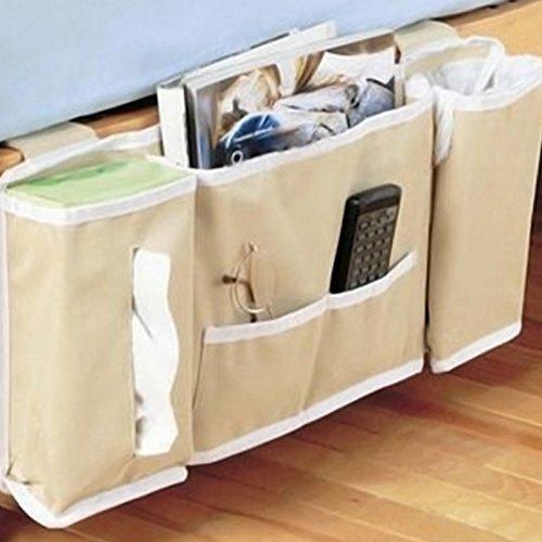 Mesita de noche organizador de bolsillo de almacenamiento, armario para colgar bolsa de teléfono soporte Caddy